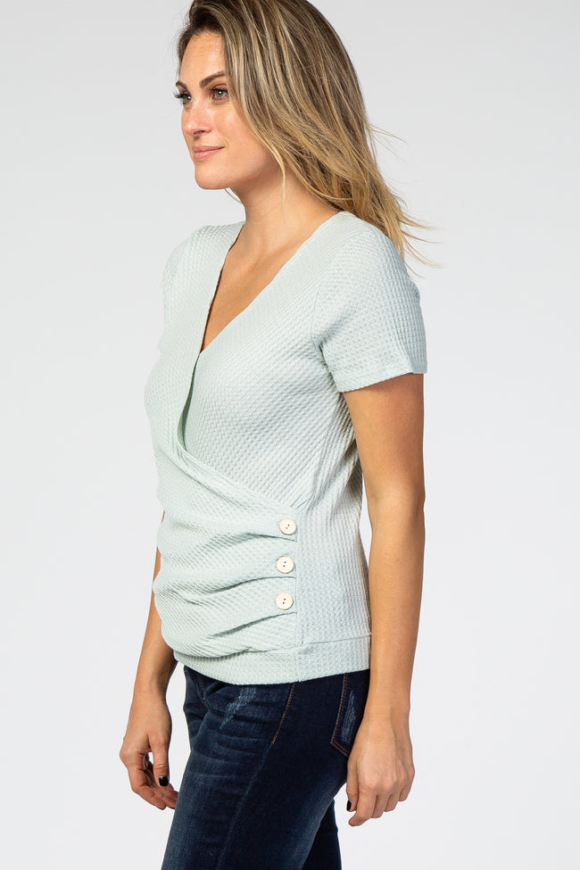 Light Olive Waffle Knit Button Side Wrap Top