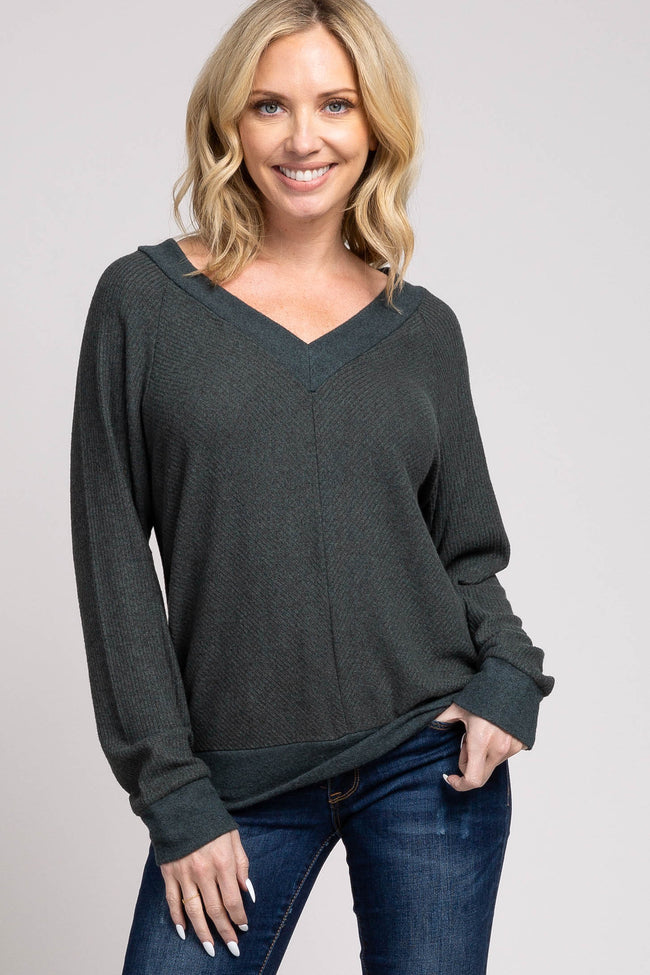 Forest Green Brushed Ribbed Fabric V Neck Long Sleeve Top