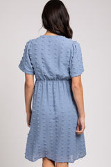 Light Blue Swiss Dot Midi Dress