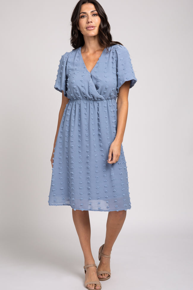 Light Blue Swiss Dot  Maternity Midi Dress