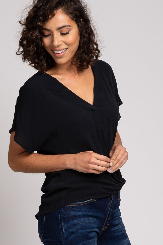 Black Side Knot Short Sleeve Blouse