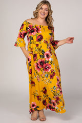 Mustard Floral Off Shoulder Maternity Plus Maxi Dress