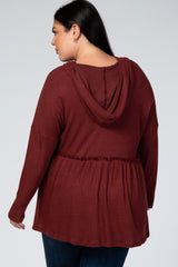 Rust Waffle Knit Hooded Plus Peplum Top