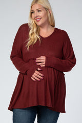 Rust Waffle Knit Hooded Plus Maternity Peplum Top