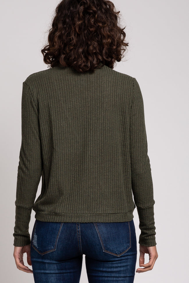 Olive Ribbed Wrap Front Long Sleeve Top