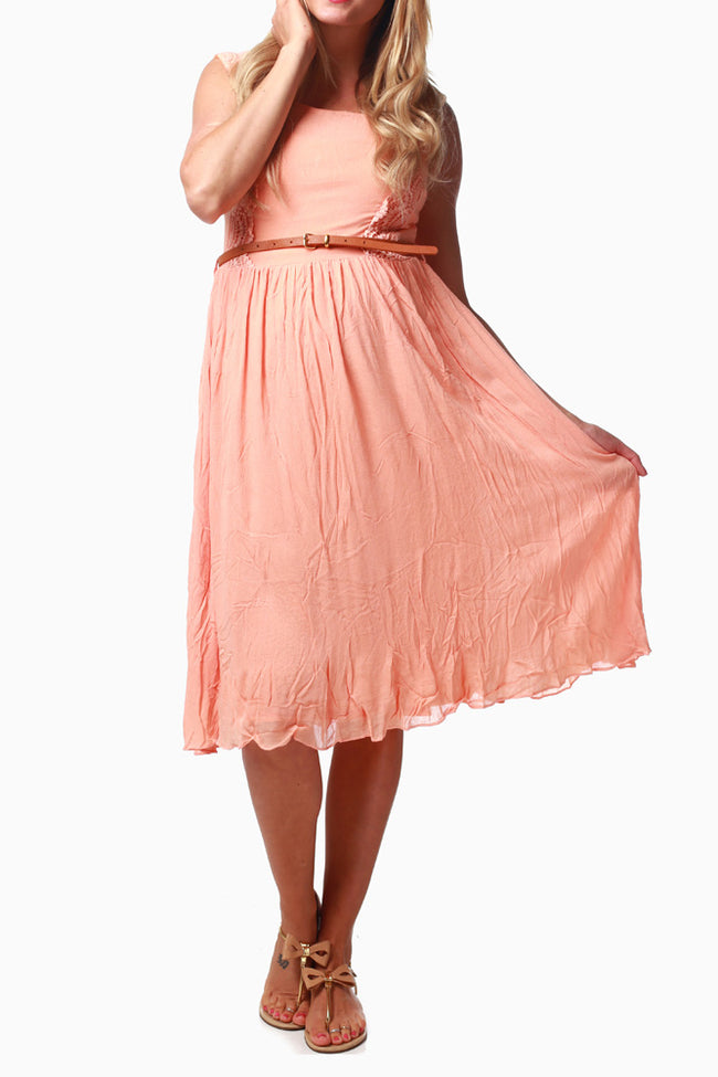 Peach Crochet Accent Belted Maternity Dress