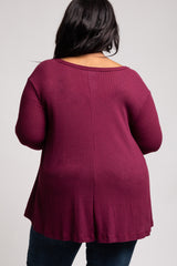 Burgundy Waffle Knit Scoop Neck Plus Top
