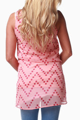 Peach Red Square Print Maternity Tank