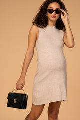 Waverleigh Taupe Mock Neck Sleeveless Maternity Sweater Dress