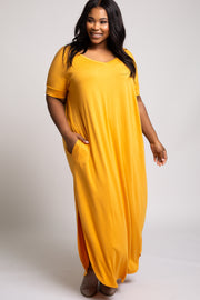 Mustard Side Slit Plus Maxi Dress