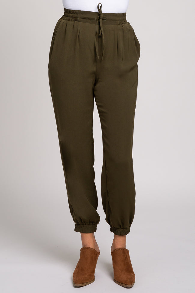 Olive High Waist Adjustable Straight Leg Jogger
