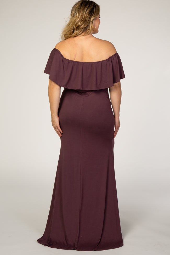 PinkBlush Plum Ruffle Off Shoulder Mermaid Maternity Plus Photoshoot Gown/Dress