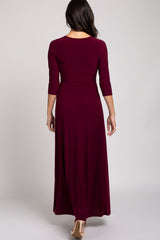 Burgundy 3/4 Sleeve Wrap Maxi Dress