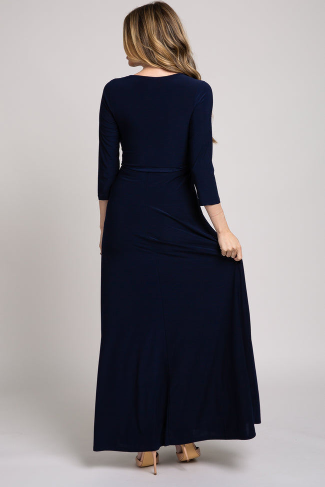 Navy 3/4 Sleeve Wrap Maxi Dress
