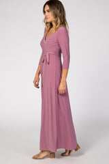 Mauve 3/4 Sleeve Wrap Maxi Dress