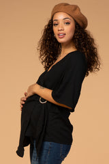 Waverleigh Black 3/4 Sleeve Ring Closure V-Neck Maternity Top