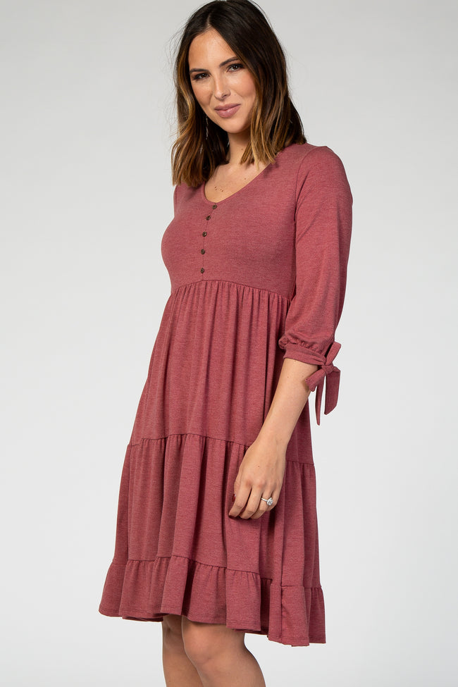 Burgundy Tie Sleeve Midi Dress