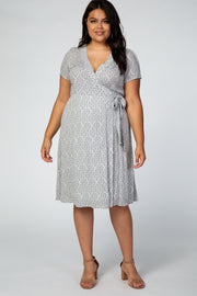 Grey Medallion Print Plus Wrap Dress