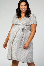 Grey Medallion Print Plus Maternity Wrap Dress