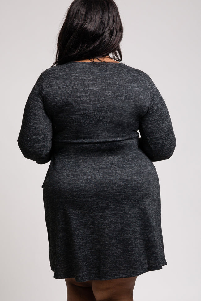 Charcoal Heathered Knit Plus Wrap Dress