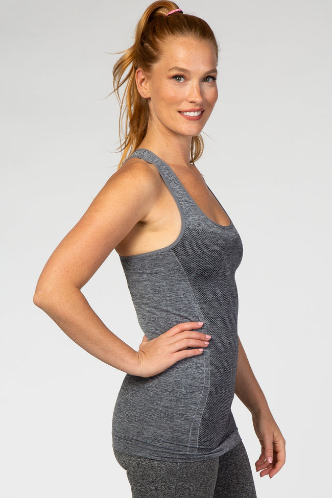 Grey Racerback Fitted Active Tank Top