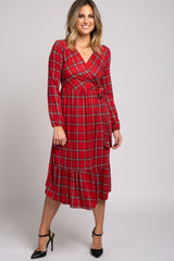 Red Plaid Wrap Long Sleeve Midi Dress