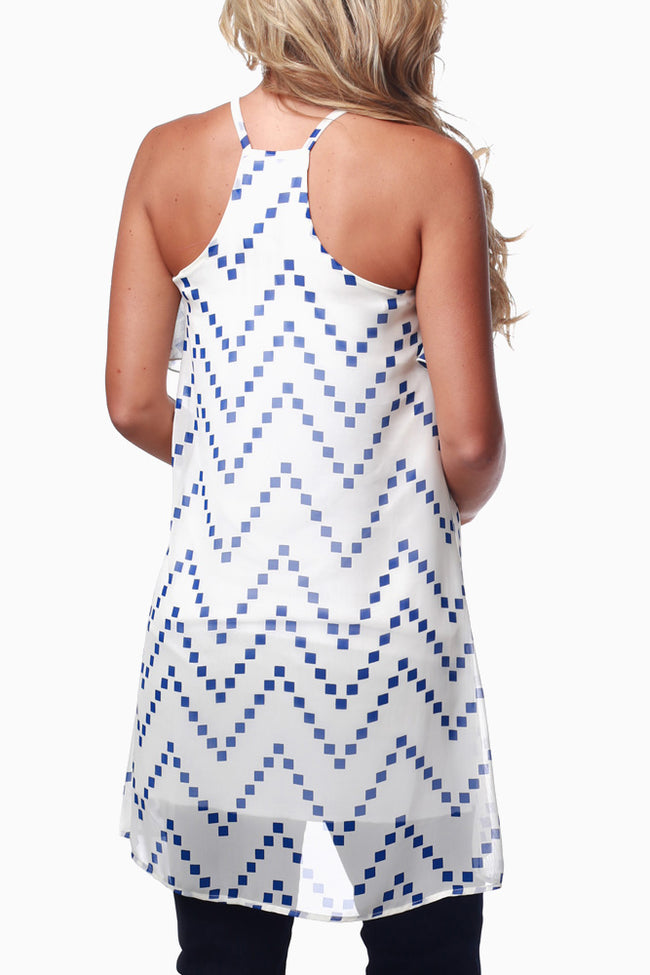 Cream Blue Chevron Print Overlay Maternity Tank