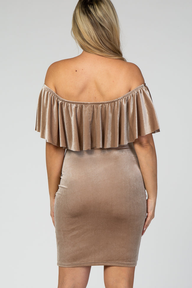 Mocha Velvet Off Shoulder Fitted Maternity Dress