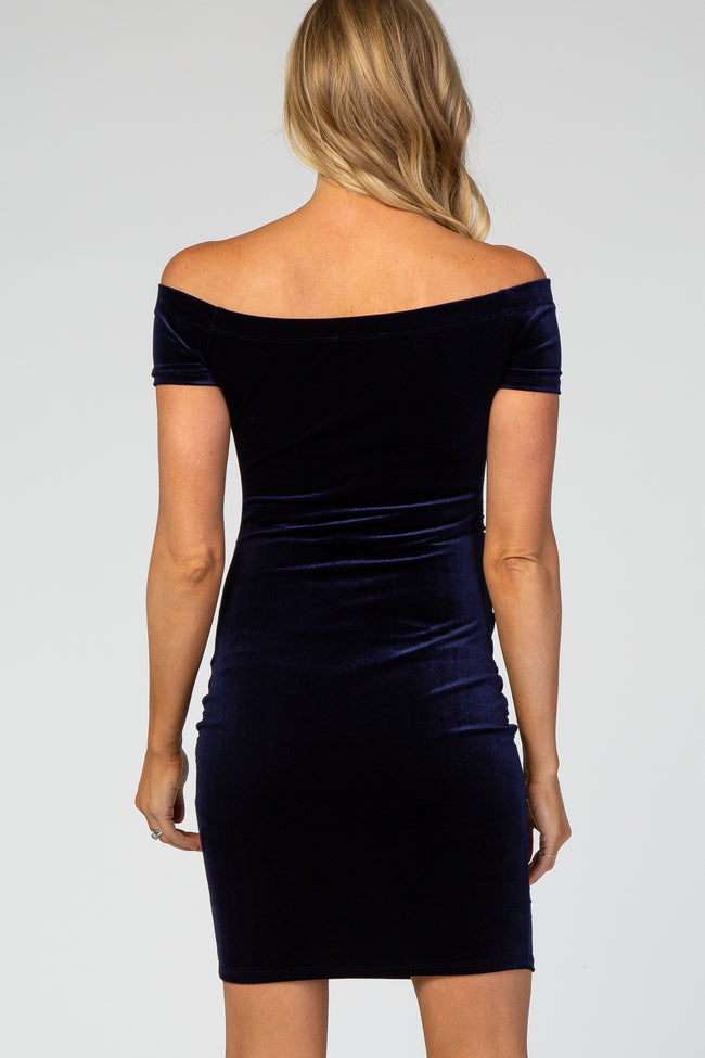Navy Velvet Off Shoulder Fitted Maternity Dress