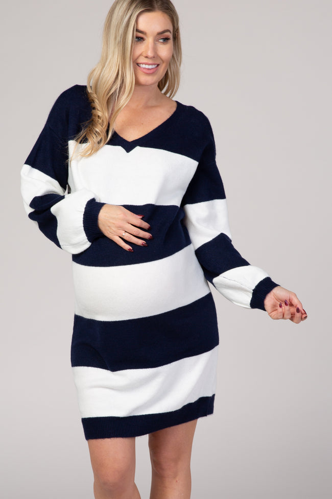 Navy Blue Large Striped Long Bubble Sleeve Knit Maternity Sweater Dress