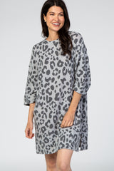 Grey Leopard Print 3/4 Wide Sleeve Brushed Fabric Dress