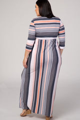 Pink Striped 3/4 Sleeve Round Neck Plus Maxi Dress