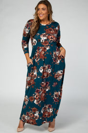 Teal Floral 3/4 Sleeve Plus Maxi Dress