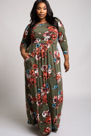 Olive Floral 3/4 Sleeve Plus Maxi Dress
