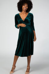 Forest Green Velvet Maternity Midi Dress