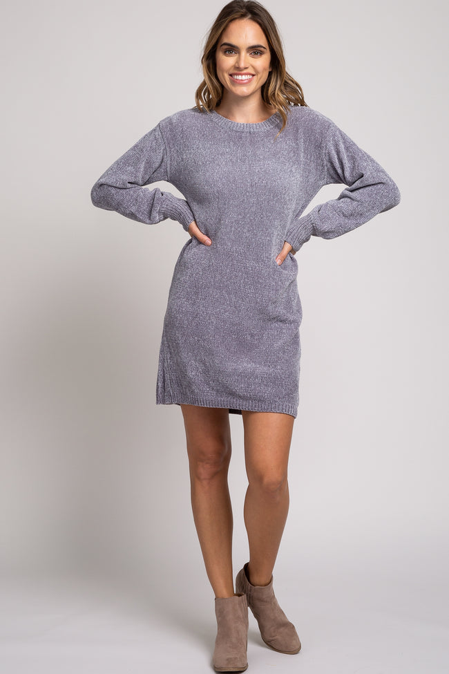 Grey Chenille Knit Sweater Dress