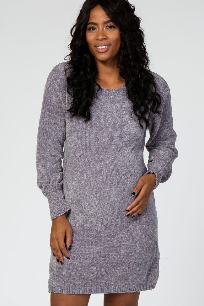 Grey Chenille Knit Maternity Sweater Dress