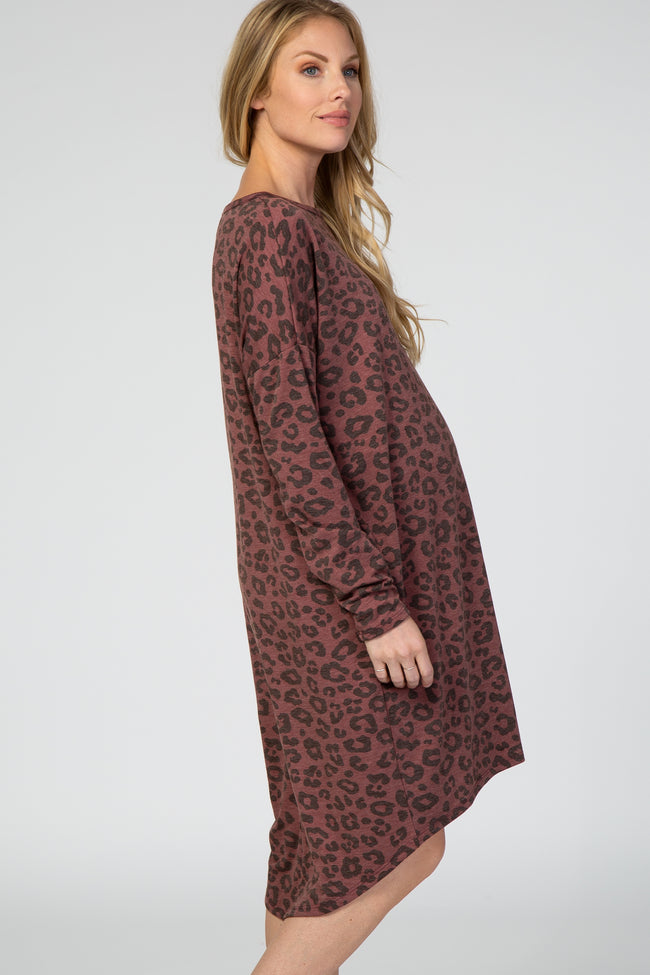 Burgundy Leopard Print Hi-Low Hem Maternity Dress