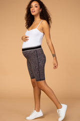 Waverleigh Brown Leopard Print High Waist Maternity Bike Shorts