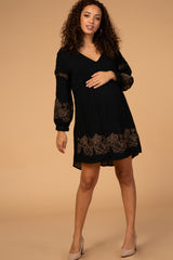 Black Embroidered Long Sleeve Maternity Shift Dress