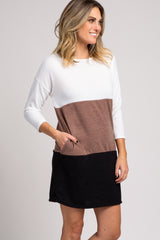 Mocha Colorblock 3/4 Sleeve Sweater Dress