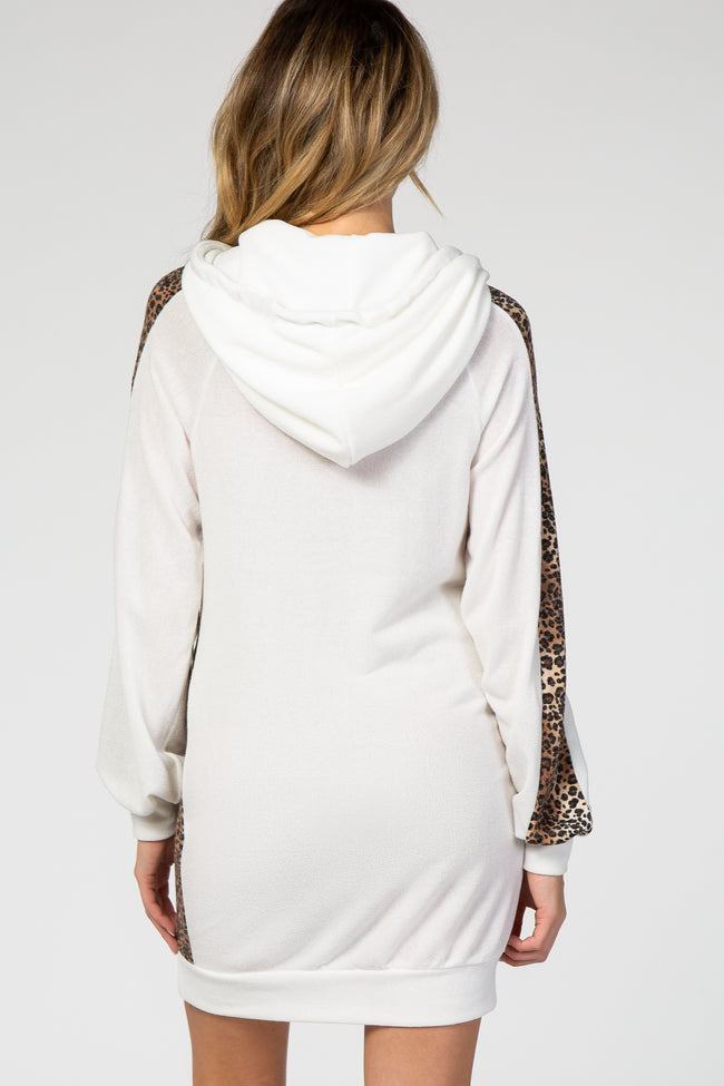 Ivory Long Sleeve Leopard Hooded Maternity Dress