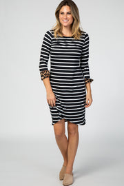 Black Striped Leopard Cuff 3/4 Sleeve Tulip Hem Dress