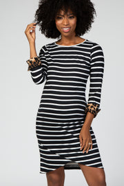 Black Striped Leopard Cuff 3/4 Sleeve Tulip Hem Maternity Dress