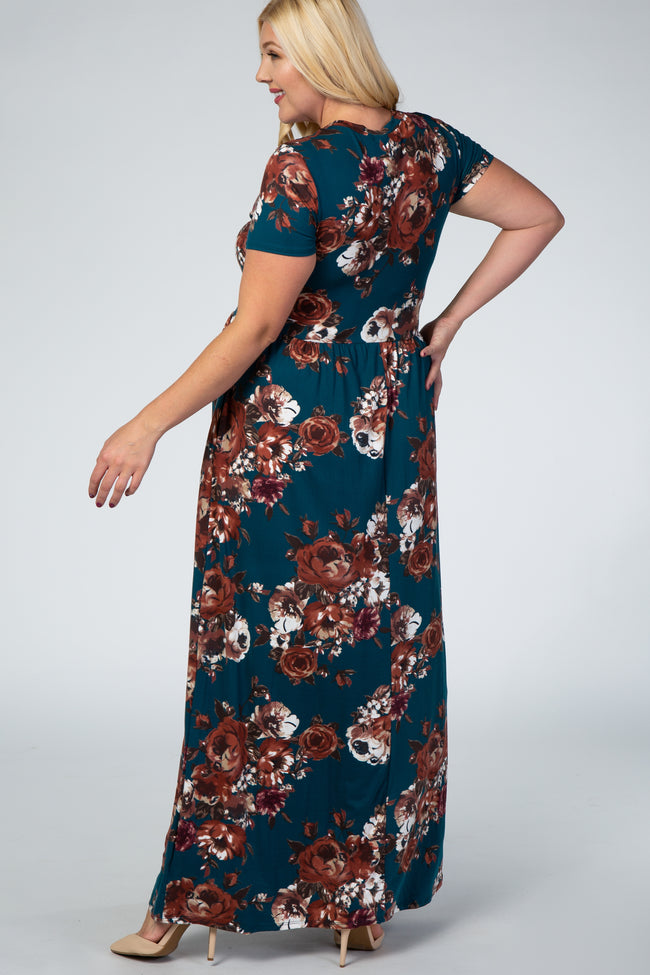 Teal Floral Maternity Plus Maxi Dress
