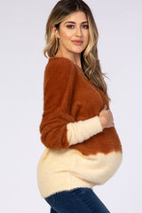 Waverleigh Brown Style Ombre Knit Maternity Sweater