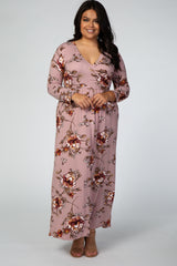 Mauve Front Twist Plus Maxi Dress