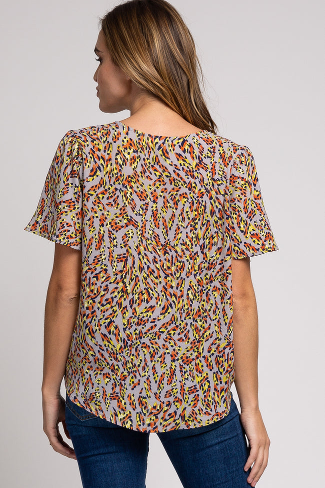 Grey Multi-Color Abstract Print Draped Top