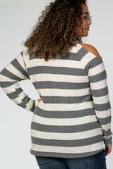 Grey Striped Brushed Knit Cold Shoulder Plus Maternity Top