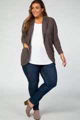 Mocha Ribbed Hooded Curved Hem Plus Maternity Cardigan